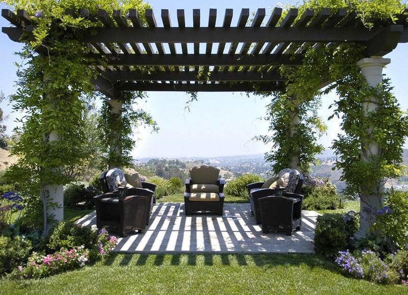 Пергола представляет собой легкую конструкцию, служащую опорой для вьющихся растений.
