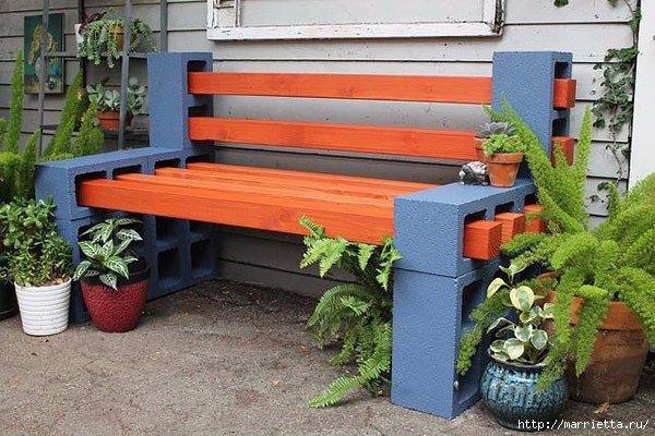 Скамейки из пеноблоков для сада и дачи.